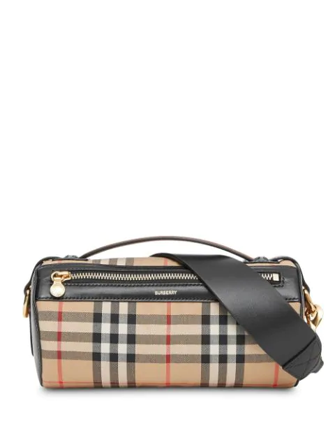 Burberry Vintage Check & Leather Barrel Bag - Beige In Archive Beige/Black