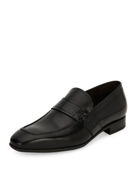 Salvatore Ferragamo Men's Gancini-embossed Leather Loafer, Black (nero)