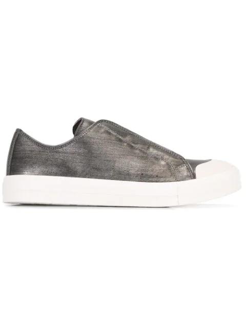 Alexander Mcqueen Silver Metallic Effect Leather Sneakers In Dark Metallic-silver