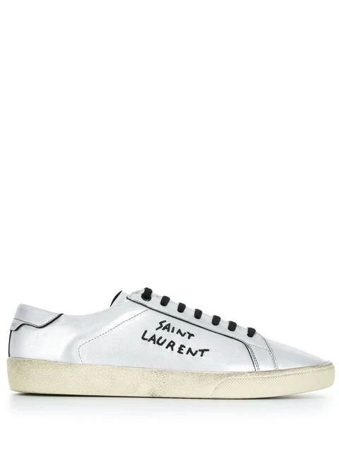 ef23e8a92fb Saint Laurent Court Classic Sl/06 Embroidered Sneakers In Used-Look Metallic  Leather In