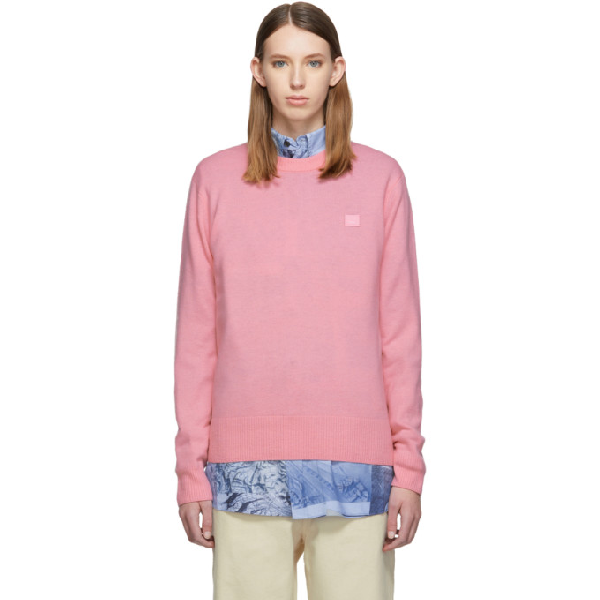 Acne Studios Face-patch Crew Neck Jumper In Blush Pink