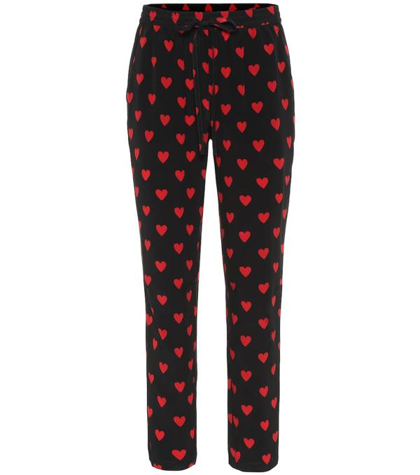 Red Valentino Heart Print Silk Pants In Black
