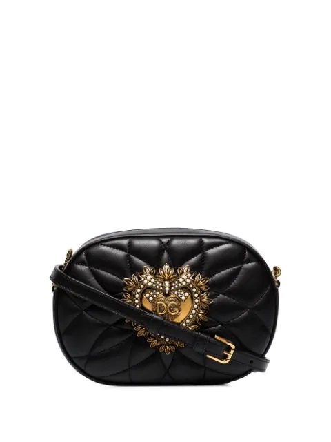 Dolce & Gabbana Love Heart Logo Cross Body Bag In Black