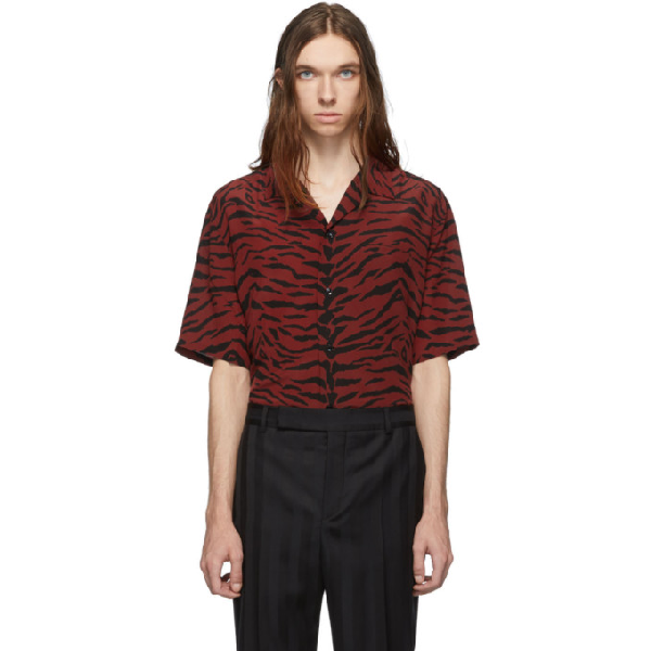 Saint Laurent Shark-collar Shirt In Crepe De Chine With A Zebra Print In 6276 Rubred