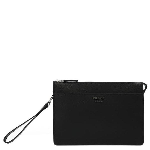 Prada Logo Clutch Bag In Black