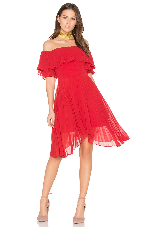 Keepsake Seasons Pleated Dress In Scarlet Red