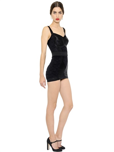 Dolce & Gabbana Stretch Satin & Lace Corset Dress, Black