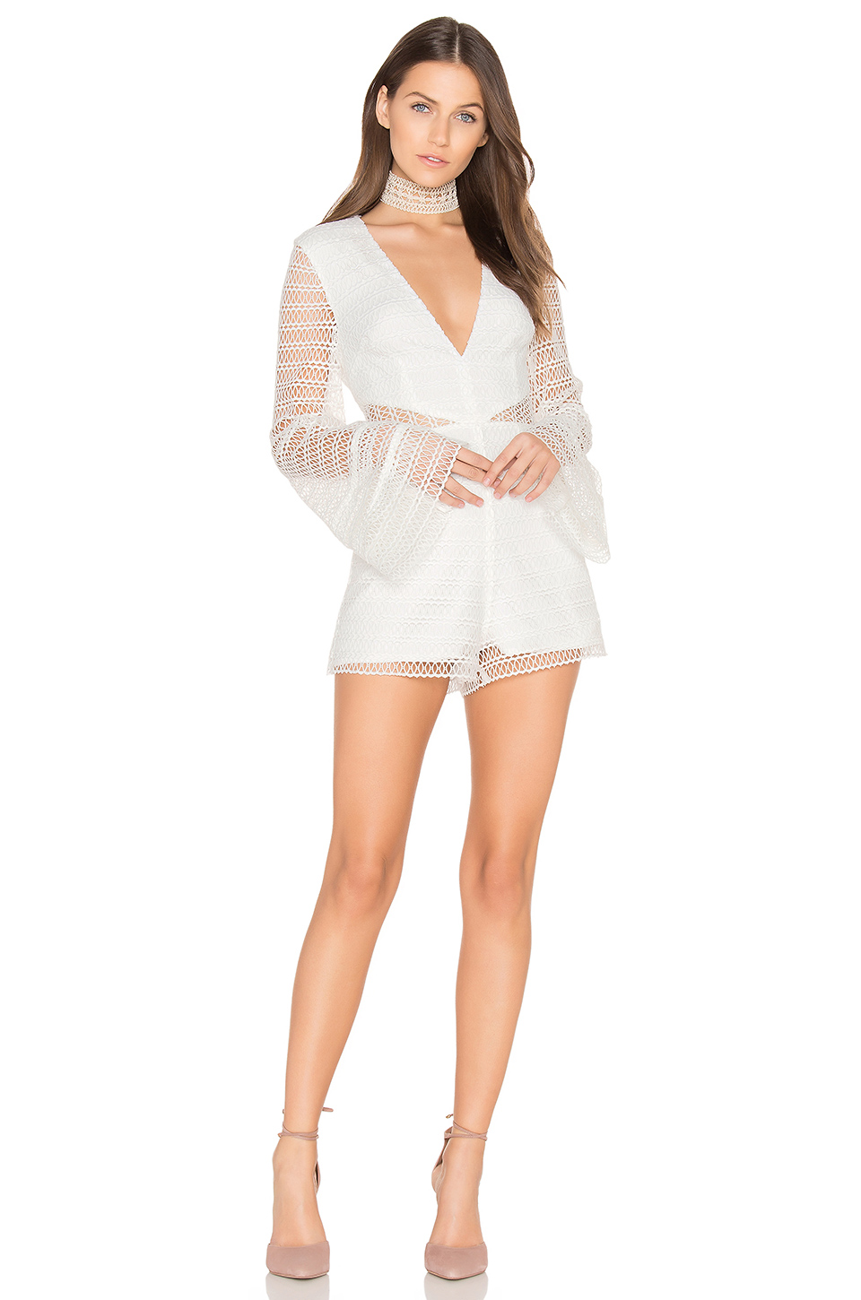 Keepsake All Night Lace Playsuit In Ivory