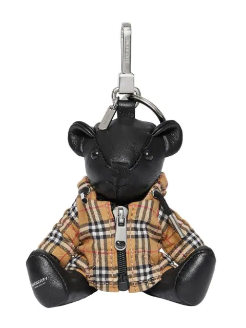 Burberry Thomas Bear Charm In Vintage Check Hooded Top In Black/Antique Yellow
