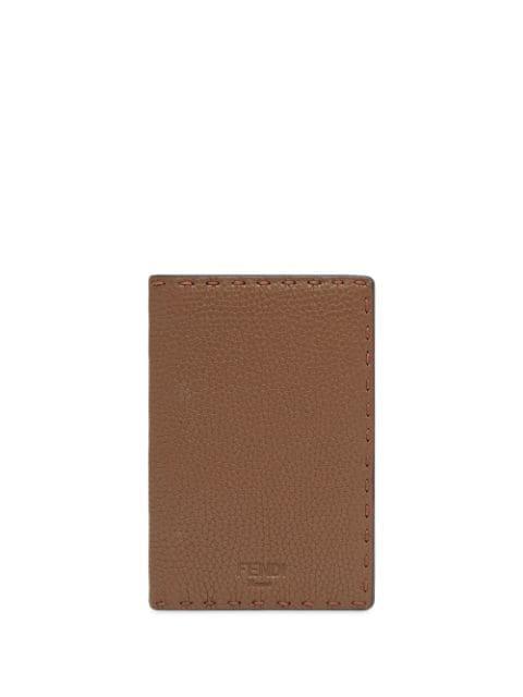 Fendi Embossed Logo Passport Cover In Brown