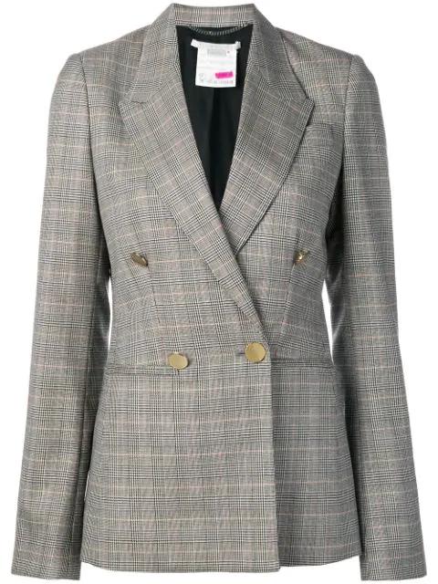 Stella Mccartney Double Breasted Check Wool Blazer In Black