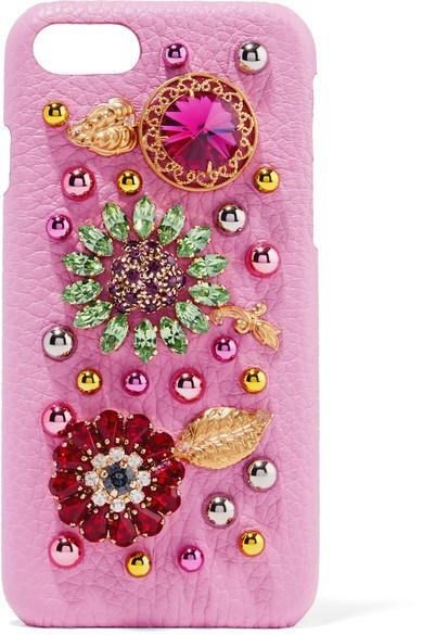 Dolce & Gabbana Embellished Textured-leather Iphone 7 Case In Pink
