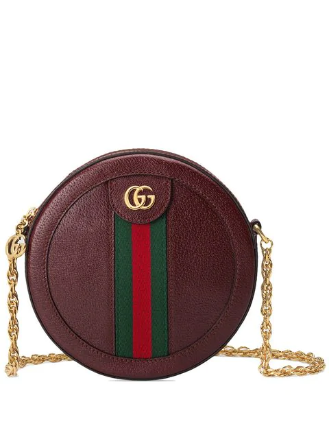 Gucci Ophidia Mini Round Leather Shoulder Bag In Red