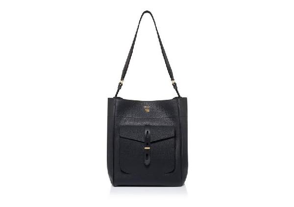 Tom Ford T Twist Textured-leather Shoulder Bag In Black