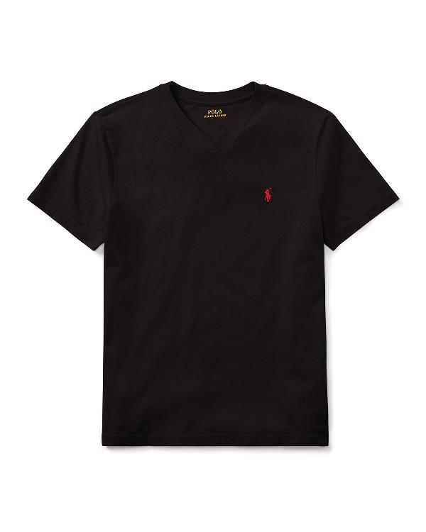 Ralph Lauren Childrenswear Short-sleeve Jersey V-neck T-shirt In Black