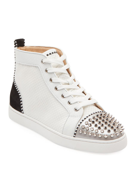 Christian Louboutin Men's Lou Spikes Mid-Top Sneakers In Multi
