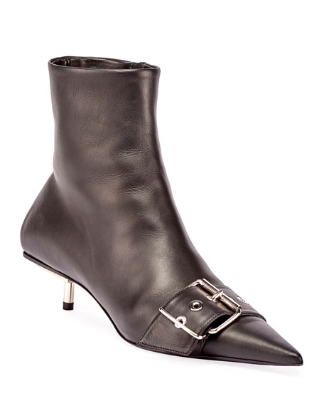 Balenciaga Belted Low-Heel Leather Booties In Black