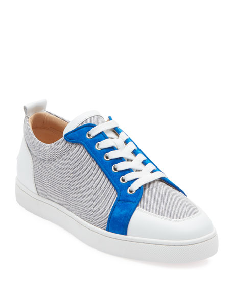 meet 66e3f 64859 Men's Rantu Colorblock Leather Low-Top Sneakers in Blue/White