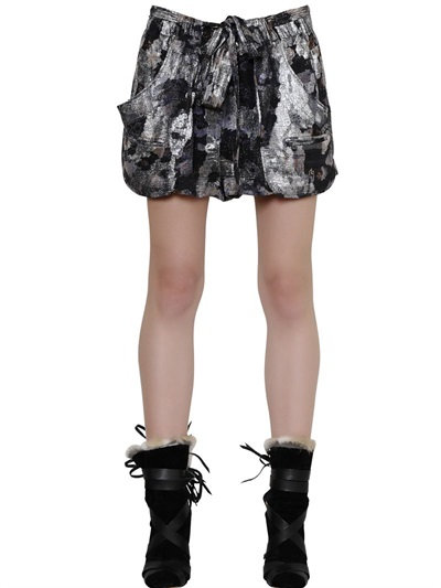 Isabel Marant Silk Georgette Lurex Shorts In Grey