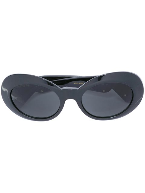 Versace Black Oval Frame Sunglasses In This Is A One Colour Product