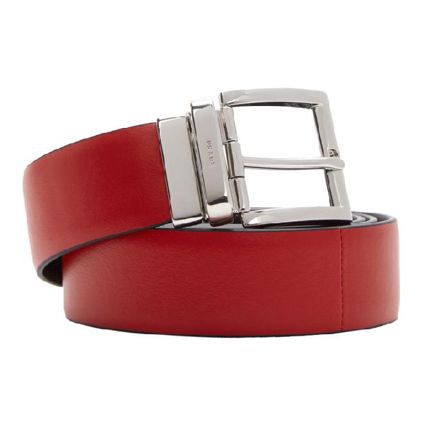 Prada Reversible Bi-coloured Leather Belt In Red/black