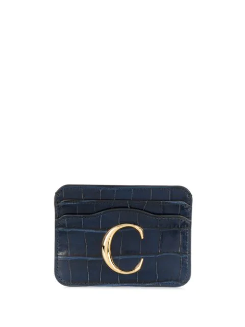 ChloÉ The C Logo Crocodile-Embossed Leather Cardholder In Blue