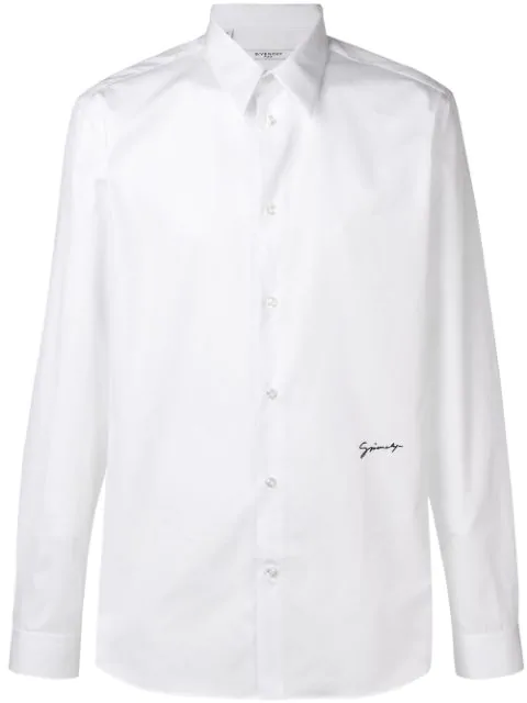 Givenchy Signature-Embroidered Cotton-Blend Shirt In White