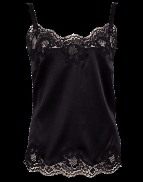 Dolce & Gabbana Lace Satin Stretch Camisole In Black