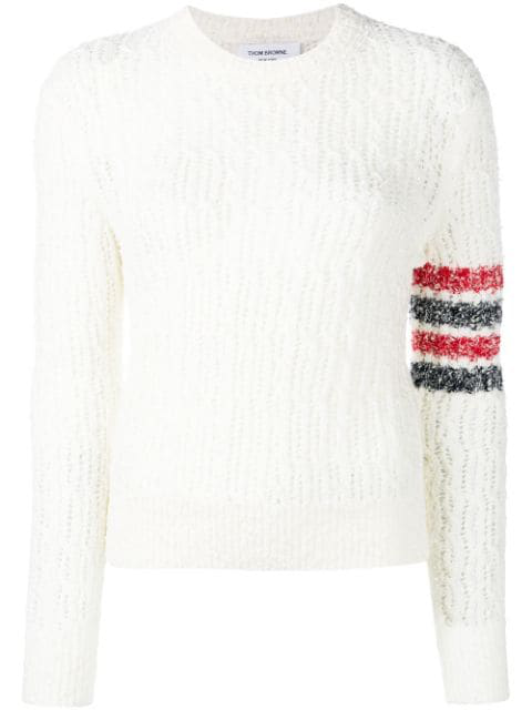 Thom Browne Tricolour Open Stitch Sweater In White