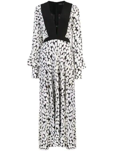 Proenza Schouler Crepe De Chine Dotted Maxi Dress In White