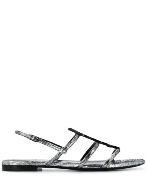 Saint Laurent Cassandra Ysl Logo Flat Metallic Sandals In Silver