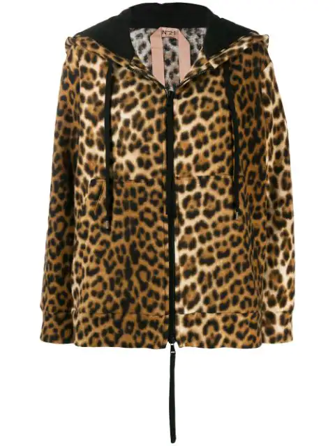 N°21 Leopard Print Hooded Jacket In Black