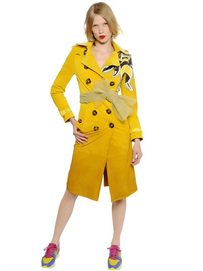 Burberry Gradient Suede Trench Coat W/ Bee Detail In Yellow