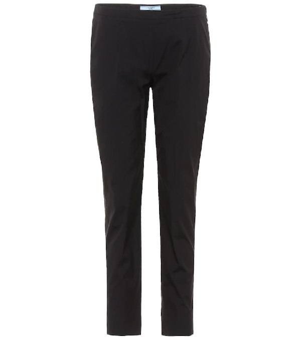 Prada Flat-front Straight Cropped Pants In Black