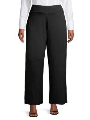 Nic+zoe Plus Women's Ease Wide-leg Pants In Black Onyx