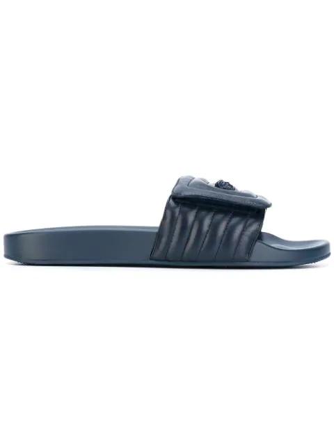 Versace Ribbed Medusa Pool Slides - Blue