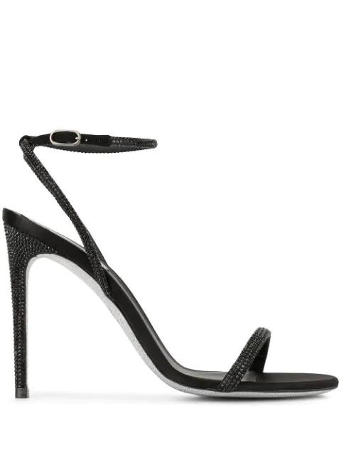 RenÉ Caovilla Beaded Heeled Sandals - Black