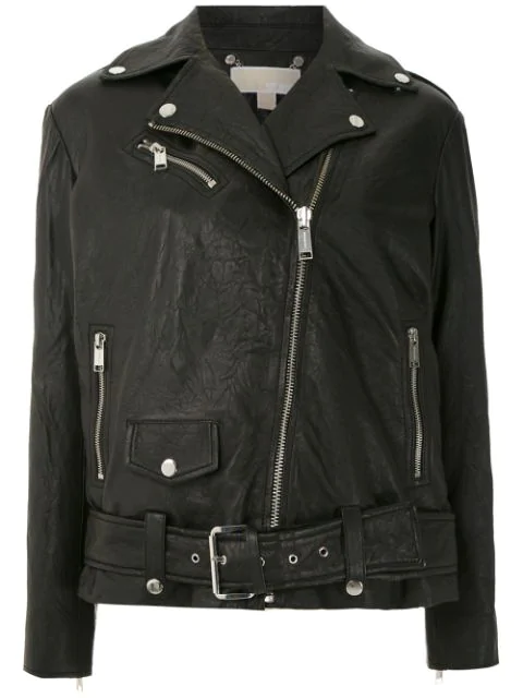 Michael Michael Kors Textured Leather Moto Jacket In 001 Black