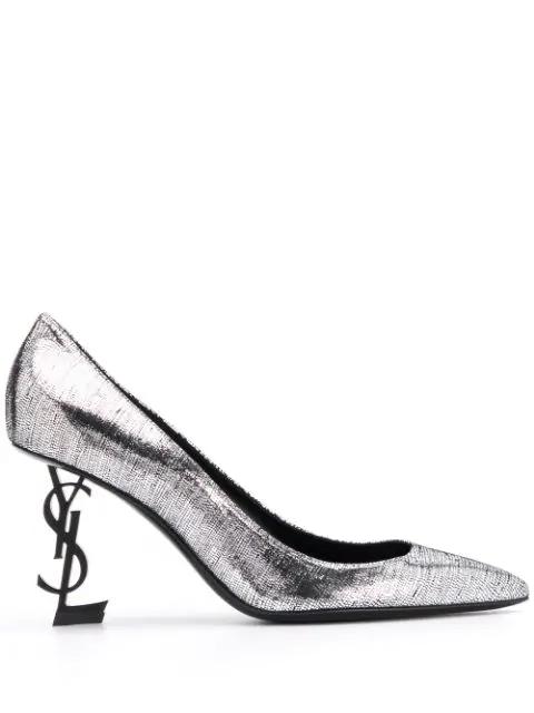 Saint Laurent Opyum Pumps In Silver