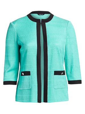 Misook, Plus Size Women's Textured Two-tone Jacket In Laguna Green
