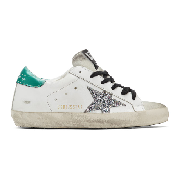 Golden Goose White & Green Superstar Sneakers