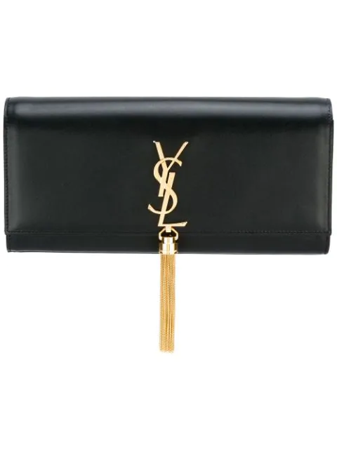 Saint Laurent Kate Tassel Clutch In Smooth Leather In Black