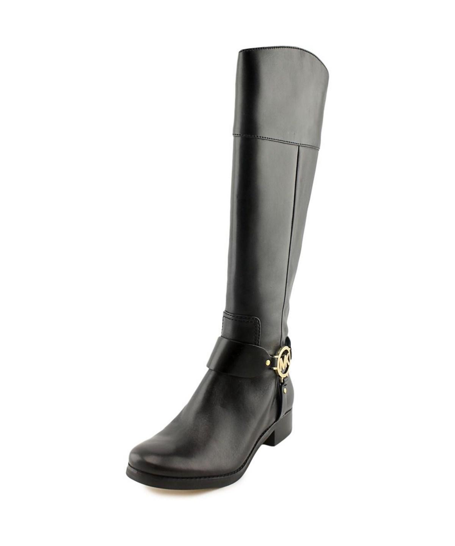 Michael Michael Kors Fulton Harness Boot Women  Leather Black Knee High Boot