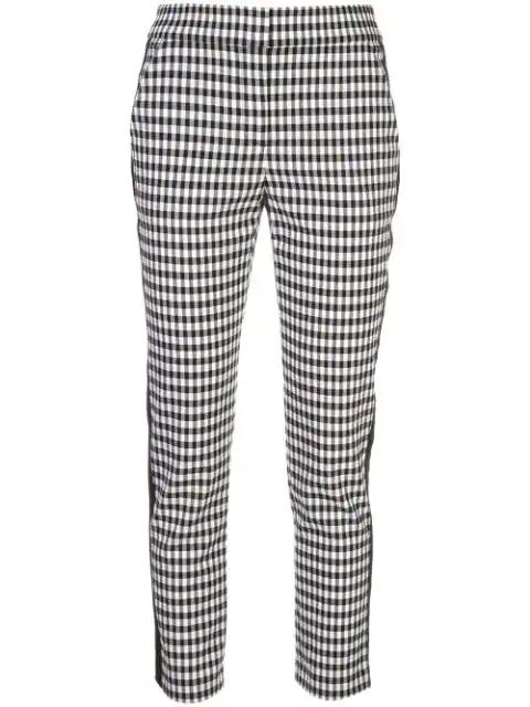 Veronica Beard Stripe Detail Check Trousers In Black