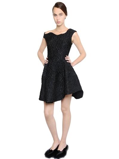 Simone Rocha Asymmetrical Shoulder CloquÉ Dress In Black
