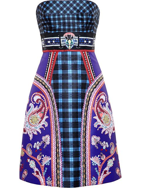 Mary Katrantzou Kelly Archive-Print Strapless Dress In Multicoloured Archive-Print
