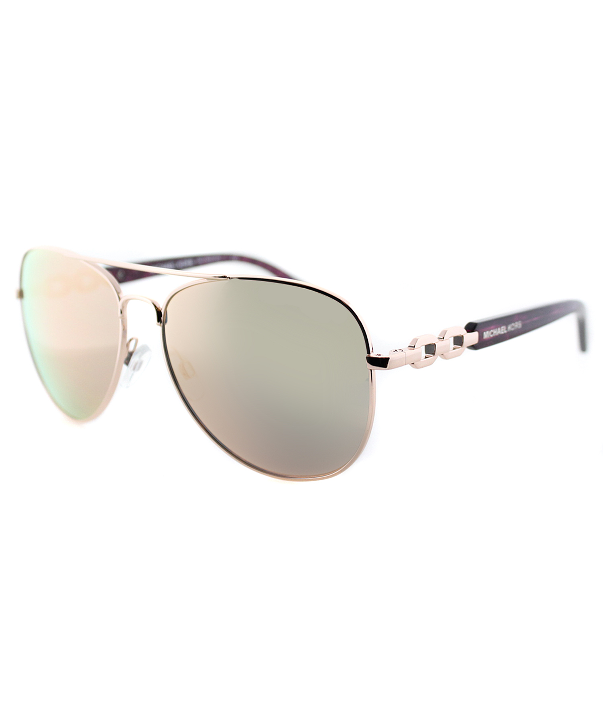 Michael Kors Fiji Pilot Metal Sunglasses In Rose Gold