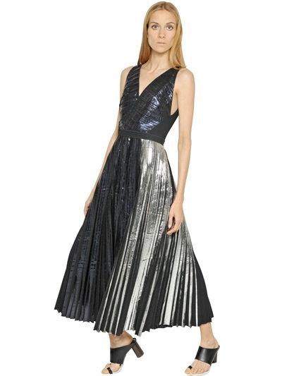 Proenza Schouler Foil Printed Techno CloquÉ Dress In Midnight/Silver