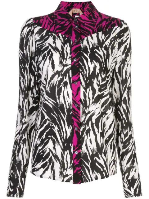 N°21 Nº21 Zebra Print Panelled Button-Up Shirt - Black
