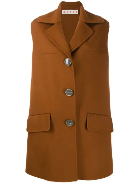 Marni Sleeveless Midi Coat In Brown